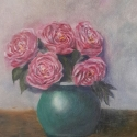 floral painting Peonies in a Turquoise Vase oil painting by Navdeep Kular