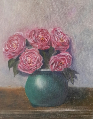 Peonies in a Turquoise Vase oil painting by Navdeep Kular