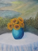 Sunflowers on a Garden Table 1 oil painting by Navdeep Kular (11H X 8W)