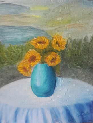 Sunflowers on a Garden Table 2 oil painting by Navdeep Kular