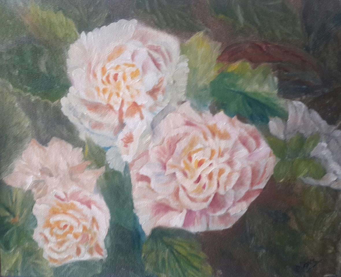 Peony Garden 1 original oil painting by Navdeep Kular (11H X 14W)