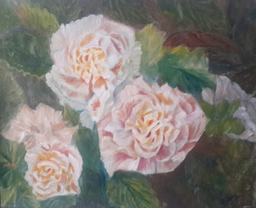 Peony Garden 1 original oil painting by Navdeep Kular (11H X 14W)