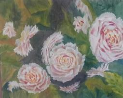 Peony Garden 2 original oil painting by Navdeep Kular (11H X 14W)