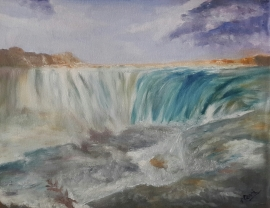 Waterfall Landscape oil painting by Navdeep Kular (11H X 14W)