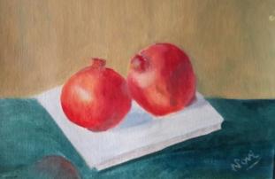 Pomegranates oil painting by Navdeep Kular