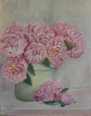 Pink peonies in a vase oil painting by Navdeep Kular