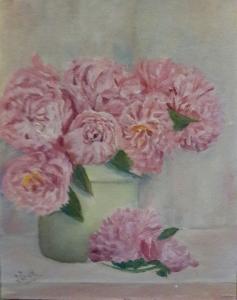 Pink peonies in a vase oil painting by Navdeep Kular