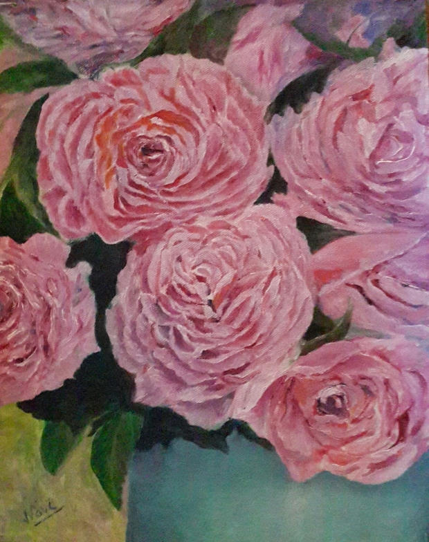 Pink Peonies oil painting by Navdeep Kular