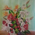 Lilies, carnations and archids oil painting by Navdeep Kular
