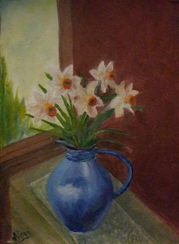 Daffodils Oil Painting by Navdeep Kular