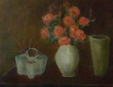 Still Life with coral roses oil painting by Navdeep Kular
