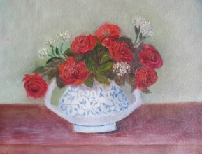 Red Roses in a Vase oil painting by Navdeep Kular