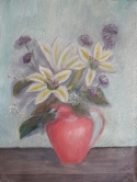 Lilies in a Red Jug oil painting by Navdeep Kular