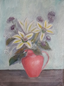 Lilies in a Red Jug oil painting by Navdeep Kular