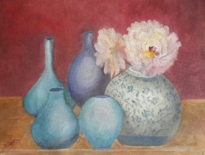 Peonies and Blue Vases oil painting by Navdeep Kular