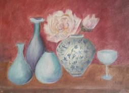 Peonies and Blue Vases Oil Painting by Navdeep Kular