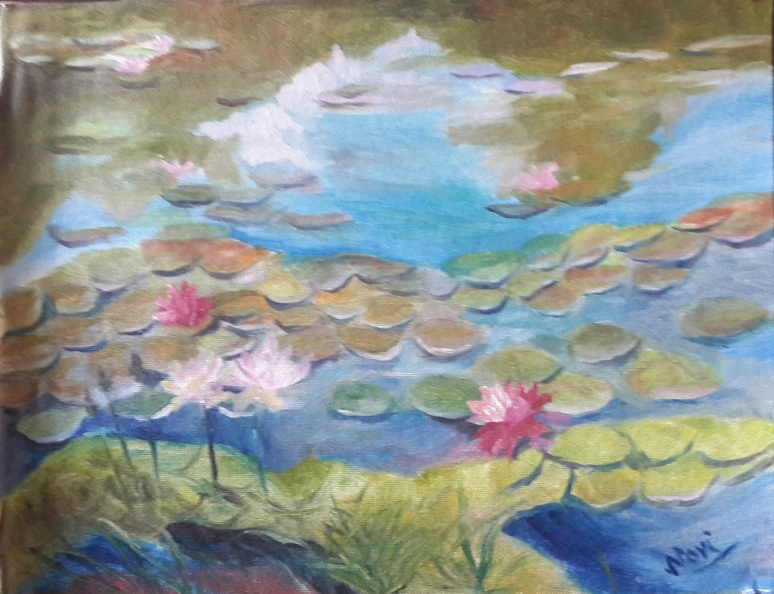 Water Lillies oil painting by Navdeep Kular