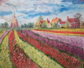 Impressionist tulip fields oil painting by Navdeep Kular