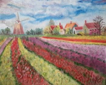 Impressionist tulip fields oil painting by Navdeep Kular