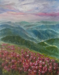 Impressionist mountains landscape oil painting with wildflowers and morning mist by Navdeep Kular