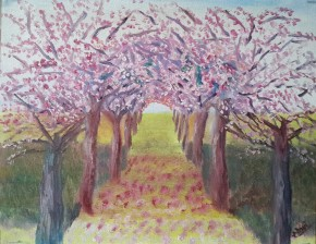 Cherry orchard in spring oil painting by Navdeep Kular