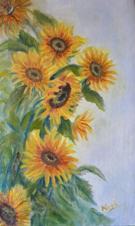 Sunflowers oil painting by Navdeep Kular