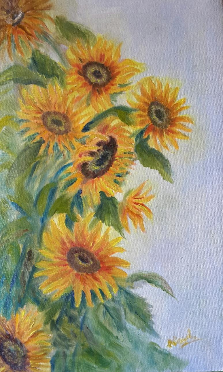 Sunflowers oil painting by Navdeep Kular