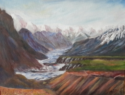 Snowclad Himalayan Range oil painting by Navdeep Kular