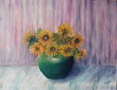original sunflowers oil painting by Navdeep Kular