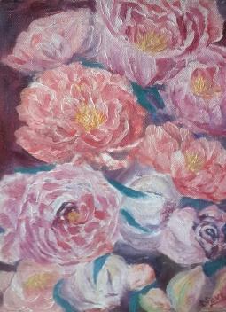 floral painting peonies oil painting by Navdeep Kular