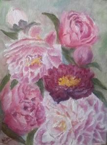floral painting original peonies oil painting by Navdeep Kular