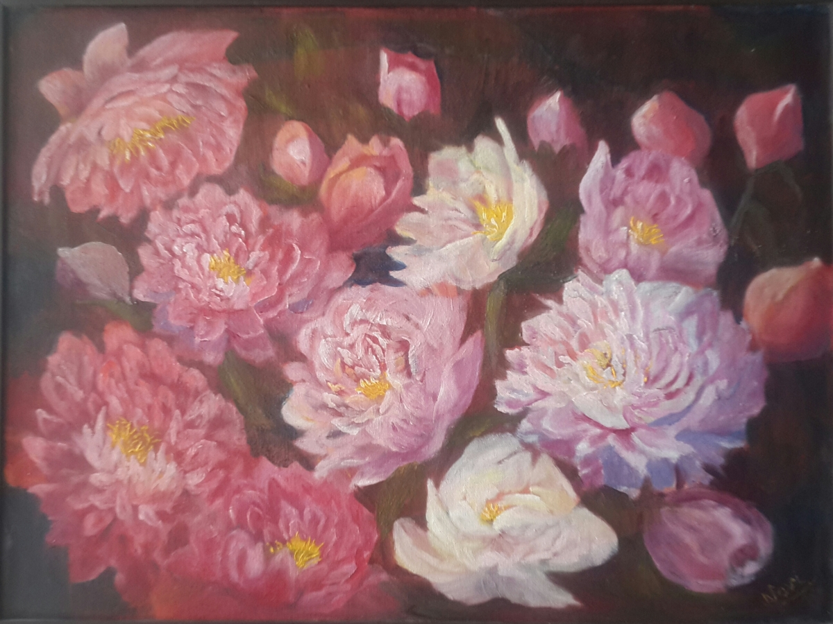floral painting original peonies painting by Navdeep Kular