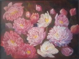 floral painting original peonies painting by Navdeep Kular