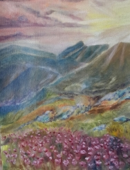 landscape oil painting of wildflowers in mountain valley by Navdeep Kular