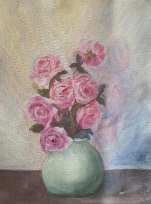 roses original oil painting by Navdeep Kular