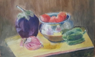 colourful painting with reflections in metallic bowl