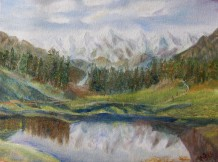 Himalayan landscape oil painting by Navdeep Kular