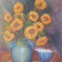 Floral still life oil painting of sunflowers in a blue vase with a creamer and a bowl of fruit by Navdeep Kular