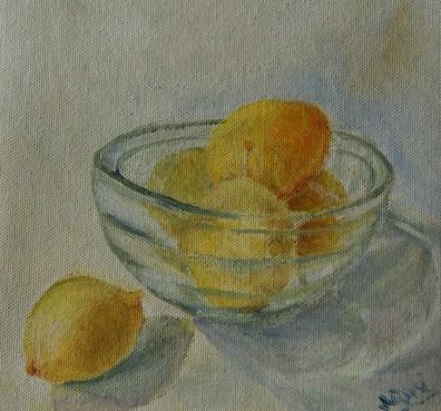 Still life lemons oil painting by Navdeep Kular