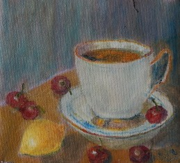 Still life with Tea Cup, Lemon and Cherries