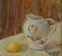 still life oil painting with lemon and creamer