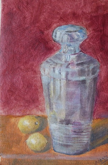 still life oil painting with lemons and a cocktail shaker by Navdeep Kular