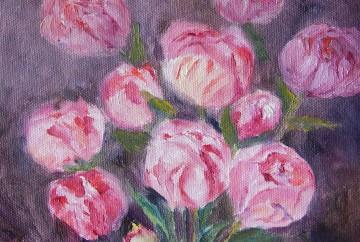 Pink peony buds painting by Navdeep Kular
