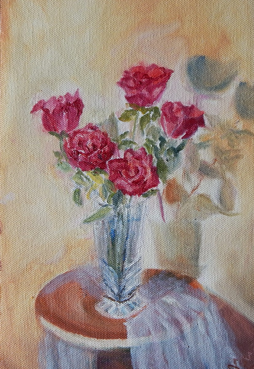 still life with red roses oil painting by Navdeep Kular