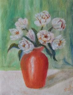 Floral still life oil painting of orange vase with flowers by NavdeepKular