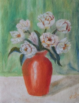 Floral still life oil painting of orange vase with flowers by NavdeepKular