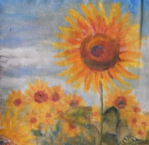 sunflower in a field with the backdrop of a sky oil painting by Navdeep Kular