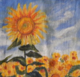 sunflower fields againt the backdrop of a blue sky with clouds oil painting by Navdeep Kular