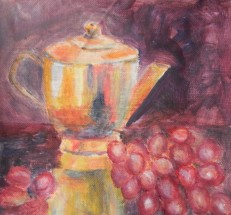 still life with teapot and re grapes by Navdeep Kular