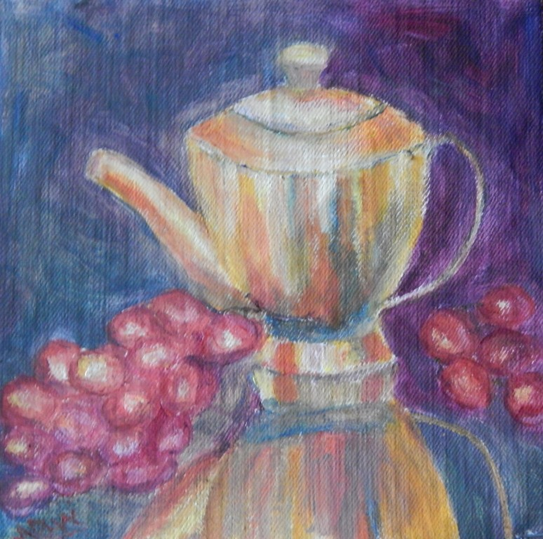 still life with teapot and red grapes oil painting by Navdeep Kular